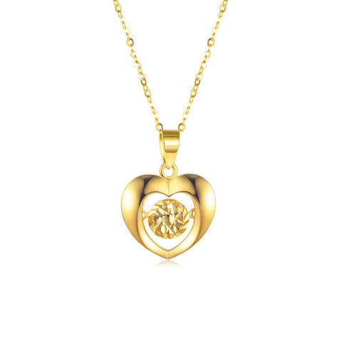 18K Gold European And American Fashion Heart-Shaped Hollow Necklace