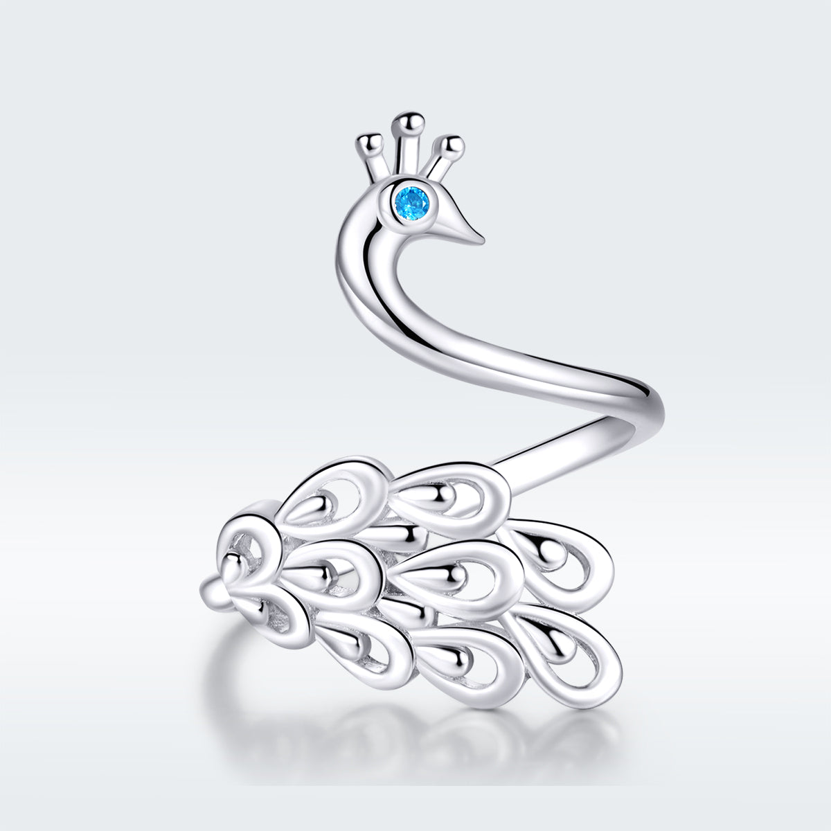 S925 sterling silver peacock ring white gold plated cubic zirconia ring