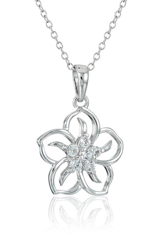 925 Sterling Silver Zircon Hollow Flower Pendant Necklace