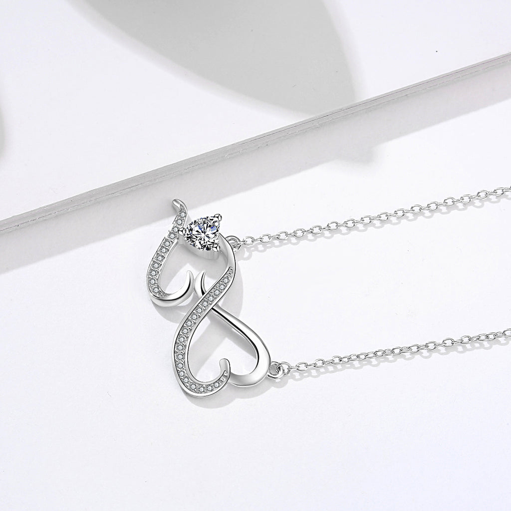 Number Eight Pendant Double Loving Heart Beautiful Zircon Setting Necklace