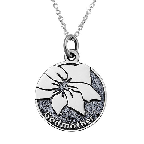 Godmother Necklace Water Lily Flower Black Disc Necklace Wholesale