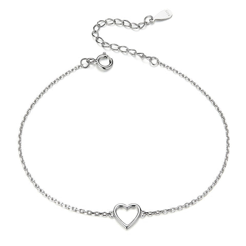 silver white gold plated hollow heart bracelet