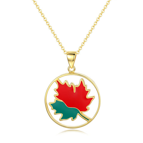 maple leaf drop gold plated necklace pendant S925 sterling silver jewerly for women