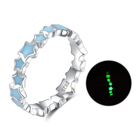 blue Star Luminous Glowing stackable finger Ring