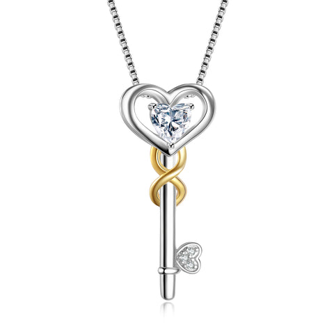 Key Shape Necklace Big Zirconia Gold and rhodium Plating Key Necklace