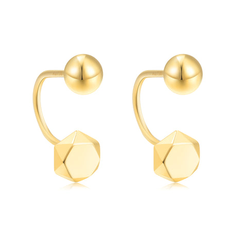 18K Gold Geometric 5mm Stud Earrings With Screw Backings