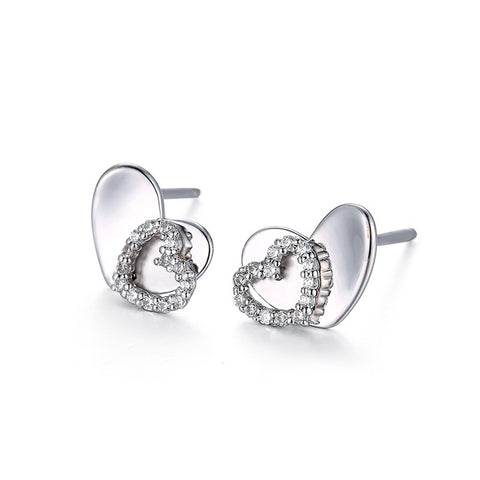 S925 Silver Heart Shaped Zircon Stud Earrings Korean Earrings
