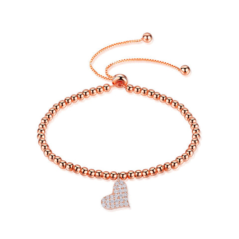 S925 Silver Rose Gold Heart Bead Bracelet
