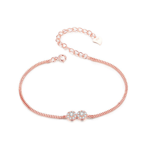 S925 Sterling Silver Rose Gold Bracelet Korean Fashion Jewelry Wholesale