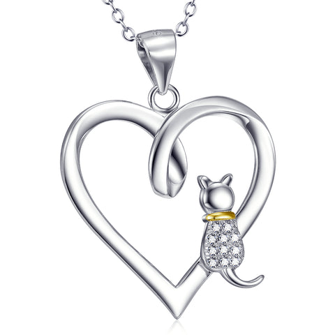 Heart And Cat Shaped Necklace Factory 925 Sterling Silver Jewelry For Gifts