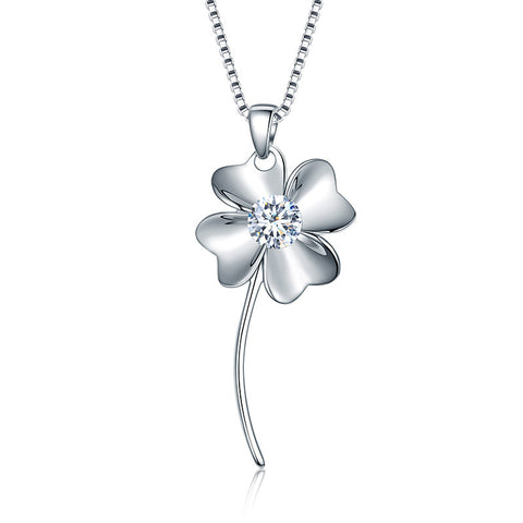 S925 Sterling Silver Clover Pendant Necklace Jewelry Wholesale