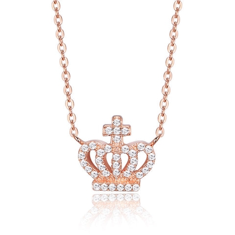 S925 sterling silver crown rose gold plated pendant necklace Korean wholesale jewelry