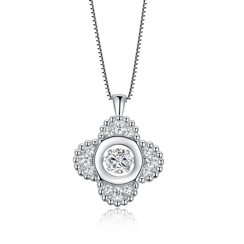 S925 Sterling Silver Cubic Zircon Clover Pendant Necklace  Wholesale Jewelry