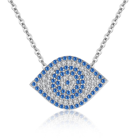 blue birthstone eye shape Cubic Zirconia Sterling silver Necklace