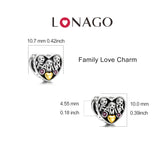 925 Sterling Silver Hot Selling Family Gold Plating Love Beads Design
