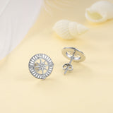 Compass Stud Earring Round Circle Geometric Design Women Men Earrings