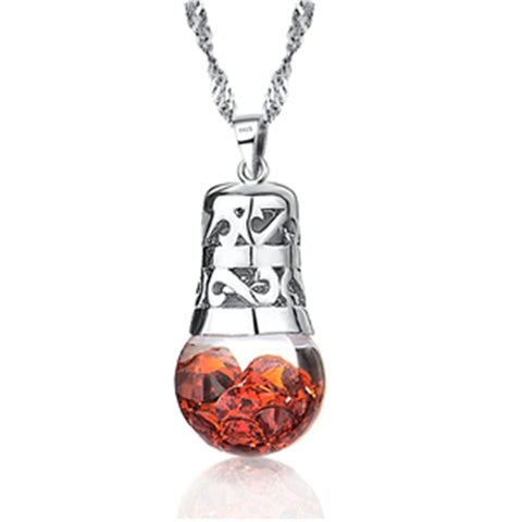 925 Sterling Silver Various Color Crystal Month Birth Stone Bulb Pendant Necklace