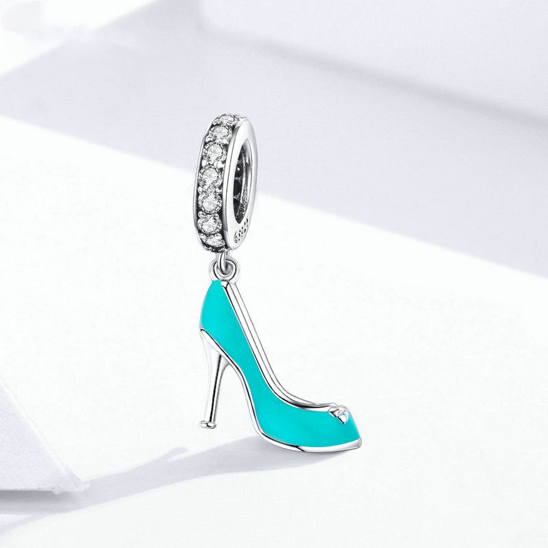 925 Sterling Silver Enamel Blue High Heels Dangles Charm Fit Original Snake Bracelet Or Necklace Fine Jewelry