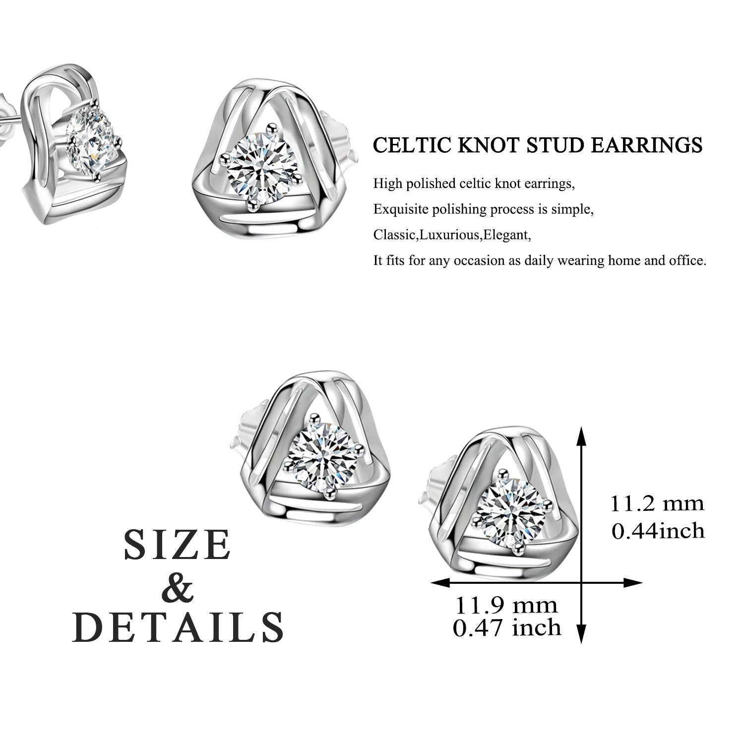 Ladies Party  Jewelry Silver, Celtic knot Earrings for Women