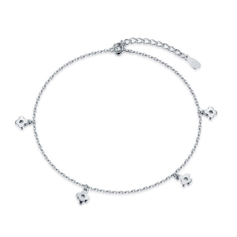 S925 Sterling Silver Flower Anklet Bracelet Korean Fashion Jewellery