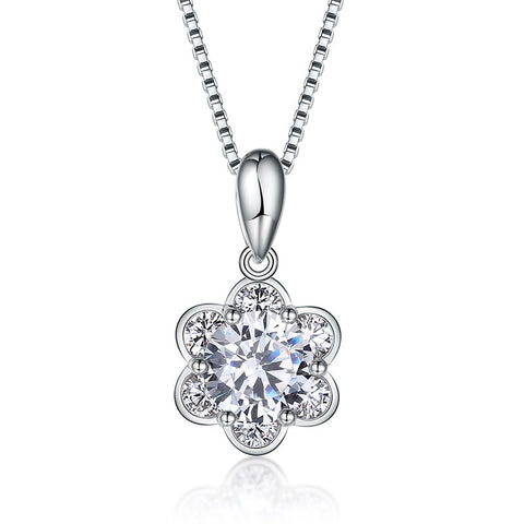 S925 sterling silver romantic cherry blossom fashion pendant necklace jewelry wholesale