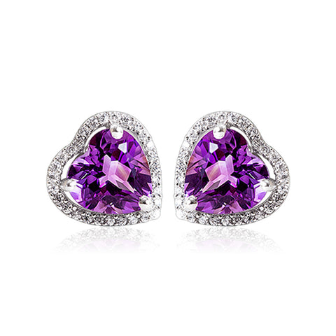 S925 sterling silver natural amethyst heart stud earrings European and American jewelry