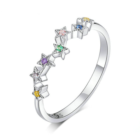 Colorful Star Line Finger Rings