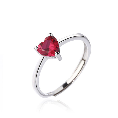 heart-shaped diamond open ring