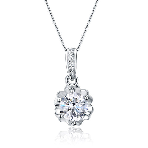 S925 sterling silver cubic zircon crystal flower pendant necklace clavicle chain wholesale
