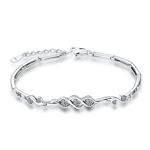 Full Sterling Silver Diamond Bracelet
