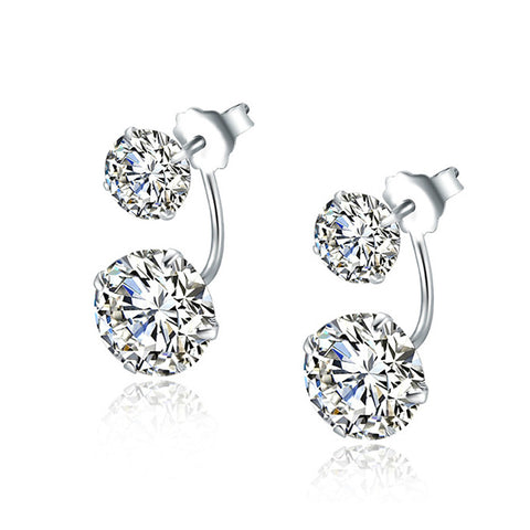 double diamond zircon earrings