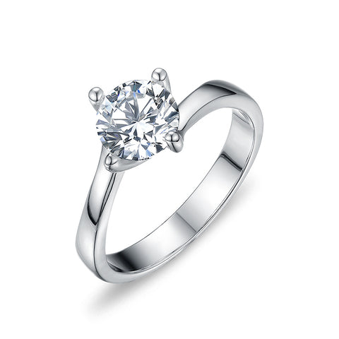 S925 Sterling Silver Zircon Engagement Ring