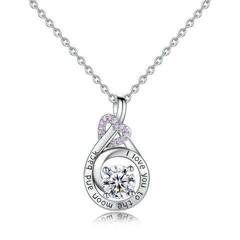 Love heart-shaped diamond Messages necklace pendant European and American fashion wild  jewelry