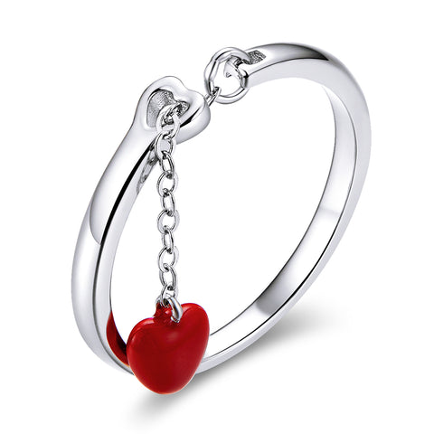 S925 Sterling Silver First Meet heart shaped Ring Platinum Plated Epoxy Ring
