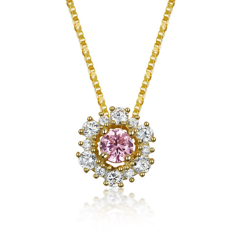 S925 Sterling Silver Pink Crystal Diamond Pendant Necklace Korean Fashion Jewellery
