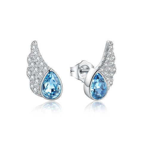 Audrey Crystal Earrings 925 Sterling Silver Stud Earrings Ocean Heart Earrings Crystal Angle Wing Jewelry