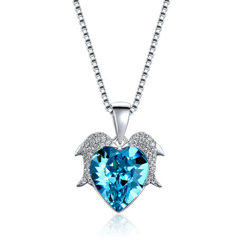 S925 Sterling Silver Cubic Zircon Dolphin Pendant Fashion Audrey Blue Crystal Jewellery