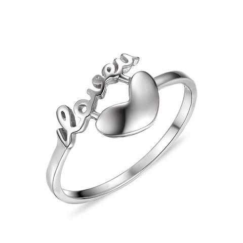 S925 sterling silver alphabet heart-shaped Fashion ring Korean jewelry wholesale