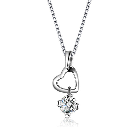 S925 sterling silver heart-shaped love pendant necklace clavicle chain wholesale