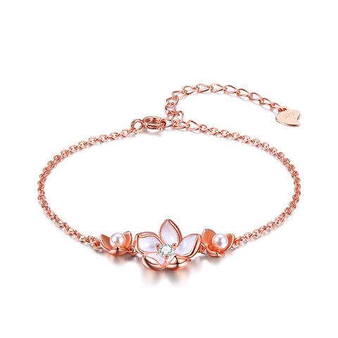S925 Sterling Silver Pearl Lotus  Rose Gold Fashion Bracelet