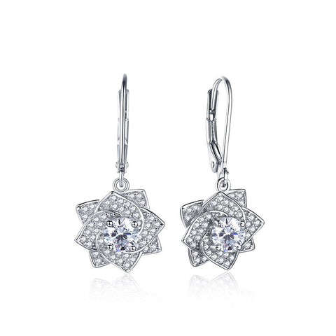 S925 Sterling Silver Rose Crystal Drop Earrings