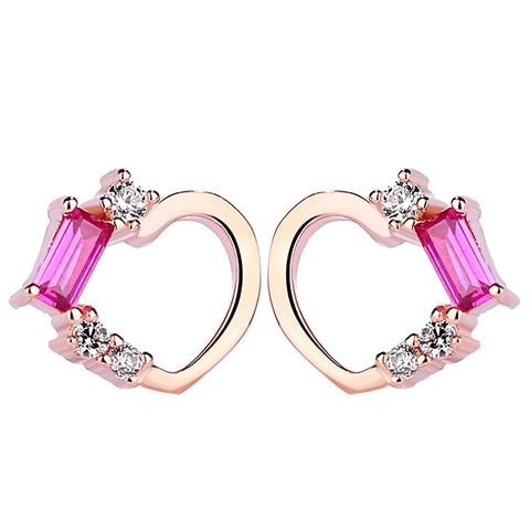sweet peach heart shaped earring