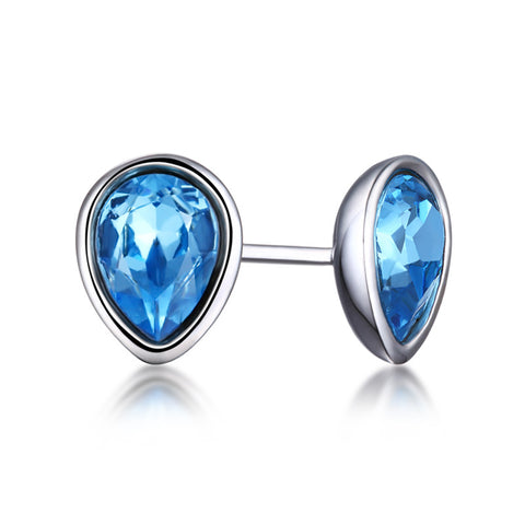 S925 Sterling Silver Ocean Heart Crystal Jewelry Stud Earrings