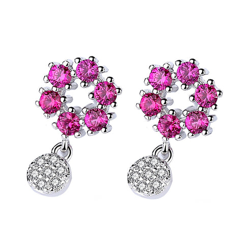 flower inlaid crystal earrings