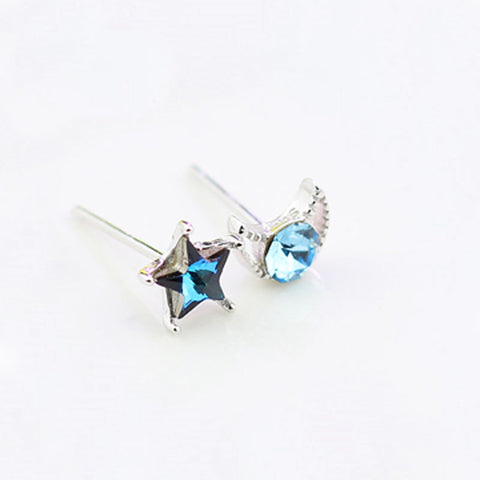 Korean Version Of 925 Sterling Silver Blue Crystal Earrings Female Personality Temperament Mini Stars Moon Earrings
