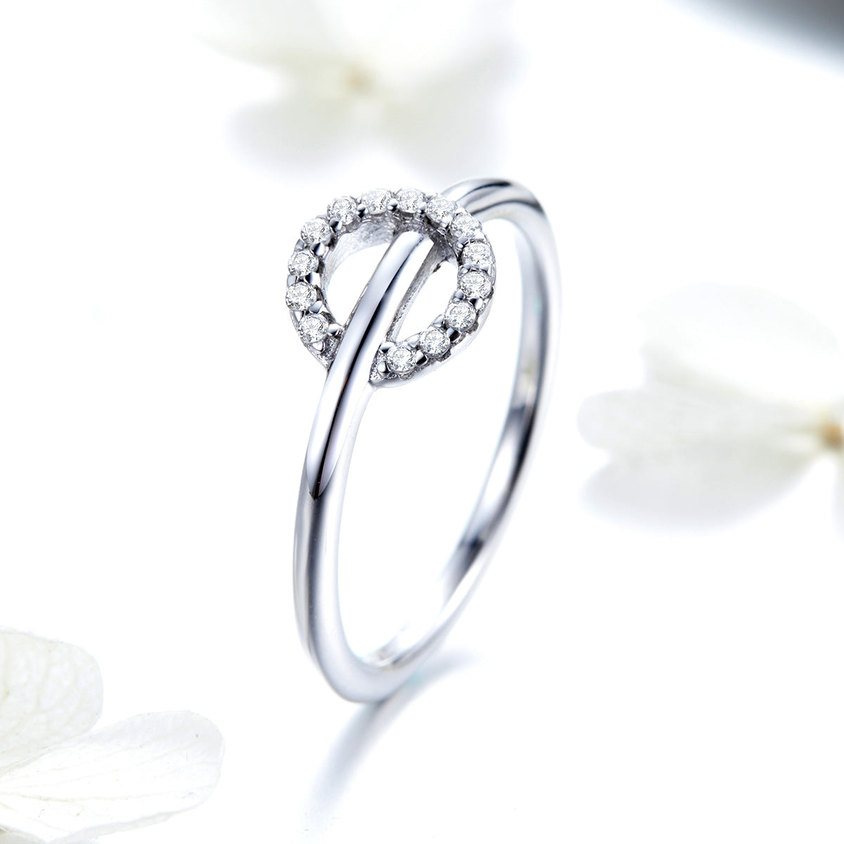 S925 Sterling Silver Single Ring White Gold Plated Cubic Zirconia Ring