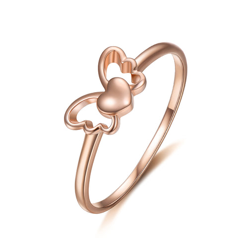 18K Gold Fashion Butterfly Ring Korean Personality Rose Gold Jewelry Fashion Women's Jewelry