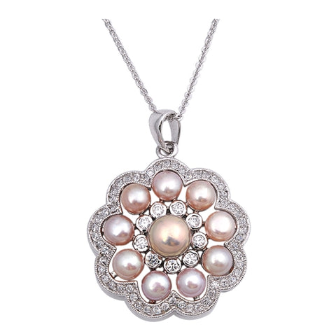 Mother of pearl clear cubic zirconia petal Pendant