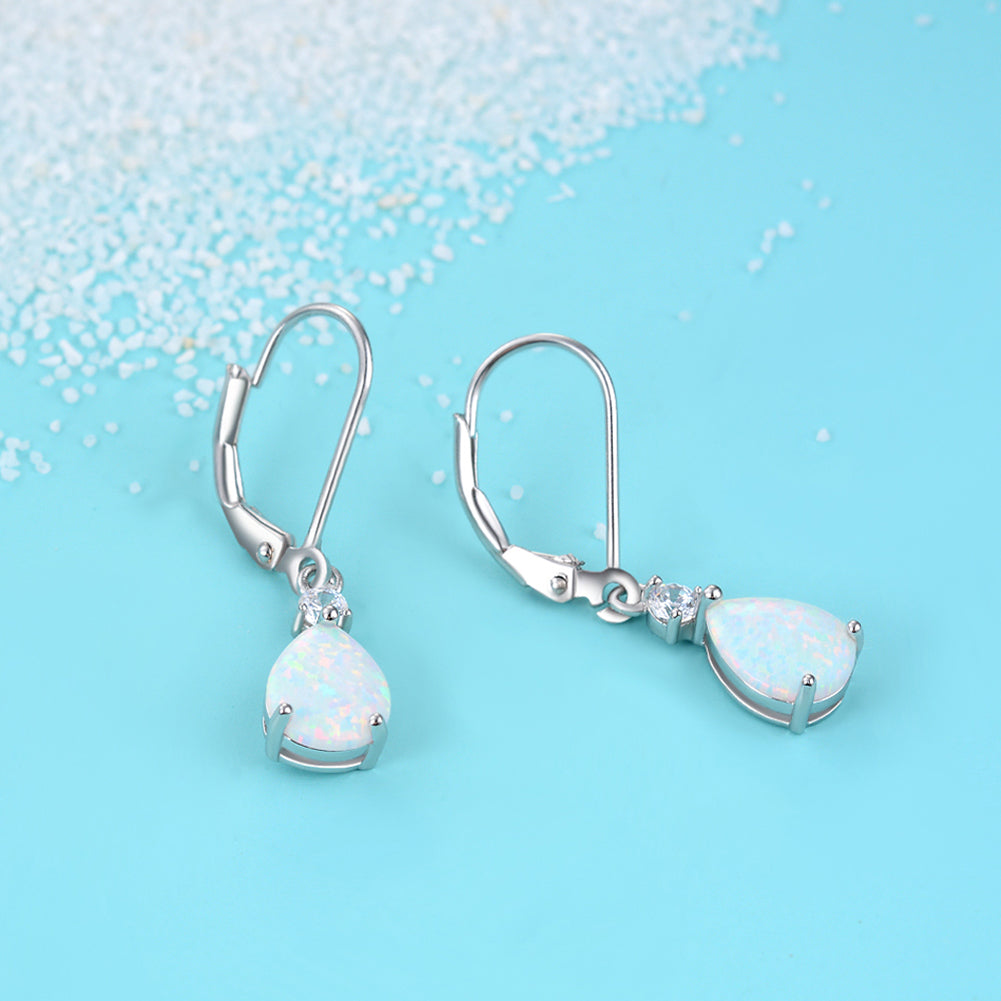 Fashion Classic Water Drop Shape Opal Earrings Handmade 925 Sterling Silver