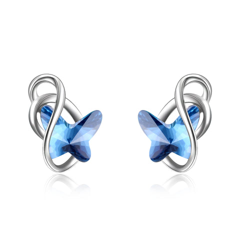 Crystal  Butterfly Earrings Blue Butterfly Shape Gemstone Jewelry Stud Earrings